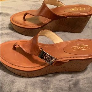 Coach Camel Wedge Sandals